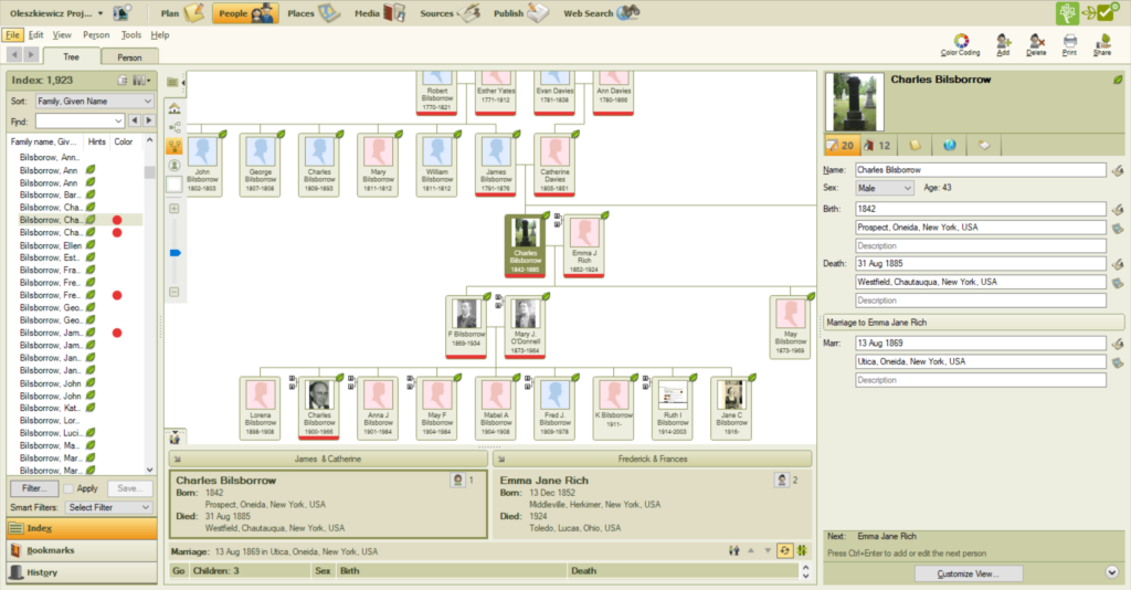 Screenshot of family tree maker